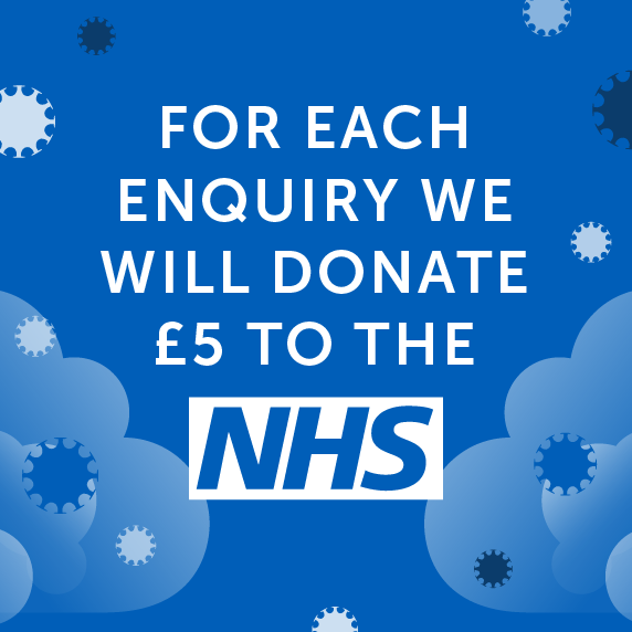 For each enquiry we will donate £5 to the NHS