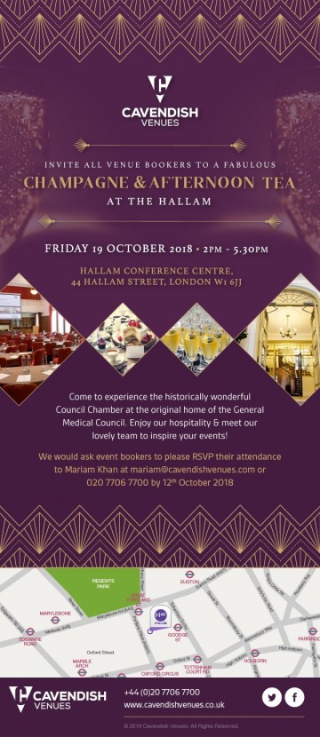 Afternoon Tea and Champagne Showcase at The Hallam Invitation