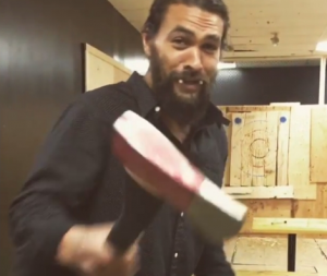 Axe throw Jason Momoa