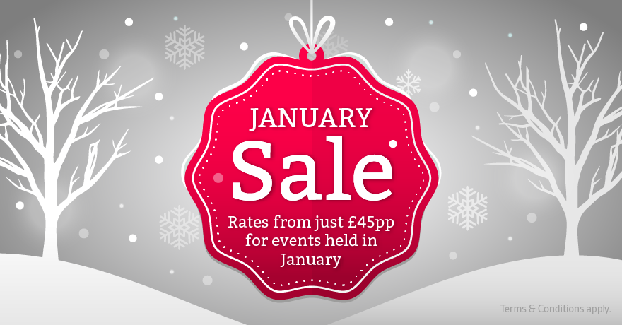 Rates from just £45pp for events held in January 2020