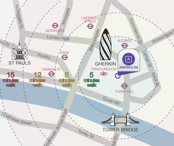 City of London Venues Map | America Square Conference Centre | Cavendish Conference Venues | London Conference Centres