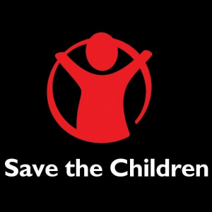 Save the children logo black background