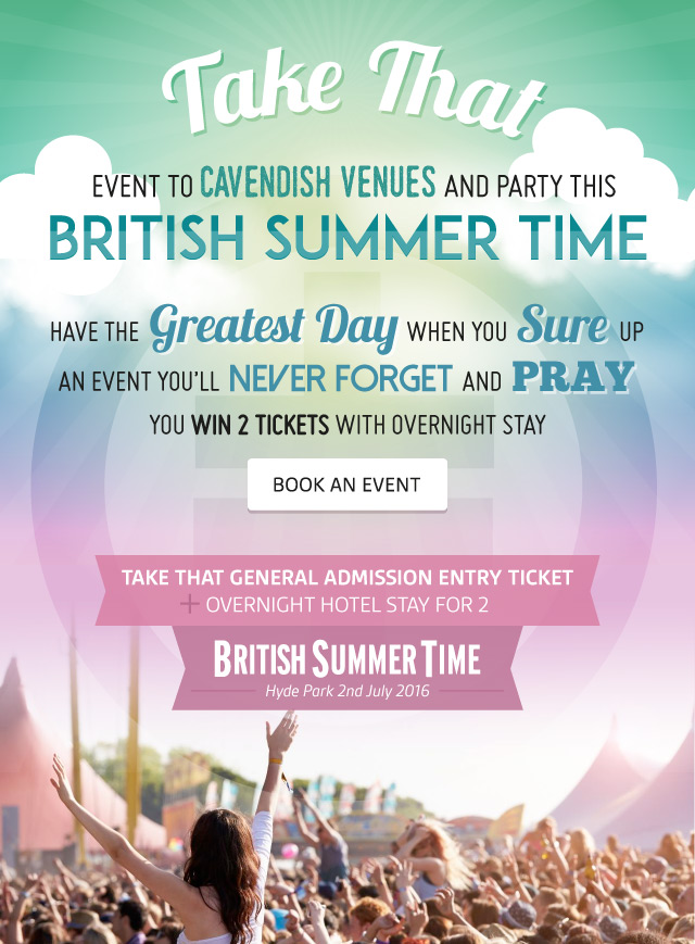 Take That event to Cavendish Venues
