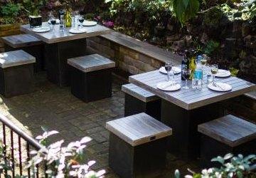 Dining outside at De Morgan House
