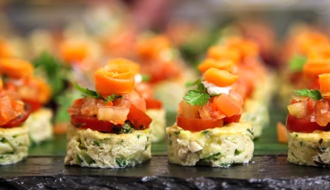 Evening events catering - a slate of freshly prepared canapes