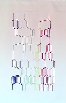 Hannah Pratt: Stella Atmosphere Graphic Score, sublimation print on recycled canvas